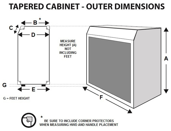 [Diagram of straight cabinet component]