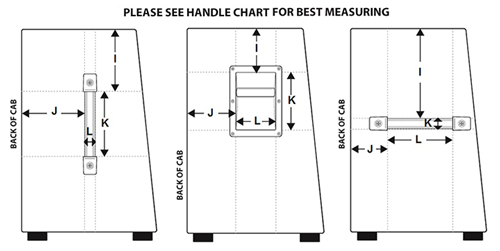 [Diagram of sloped side handle dimensions]