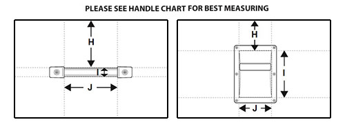 [Diagram of sloped top handle dimensions]