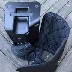 Photo of Odd Shaped Clamshell Gig Bag Open
